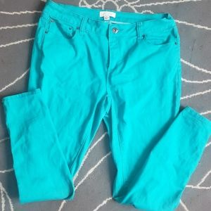 Turquoise forever 21 skinny jeans